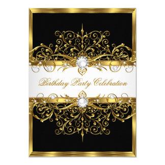 """Fiesta de cumpleaños elegante negra del oro blanco invitación 4.5"""" x 6.25"""""""