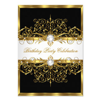 """Fiesta de cumpleaños elegante negra del oro blanco invitación 5"""" x 7"""""""
