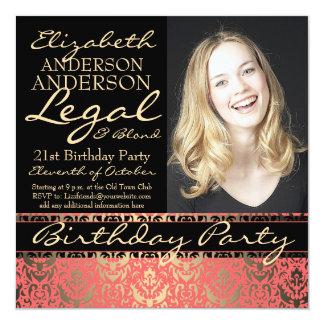 """Fiesta de cumpleaños elegante y divertida legal y invitación 5.25"""" x 5.25"""""""