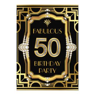 """Fiesta de cumpleaños fabulosa 50 del art déco invitación 4.5"""" x 6.25"""""""