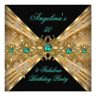 """Fiesta de cumpleaños fabulosa del damasco del oro invitación 5.25"""" x 5.25"""""""