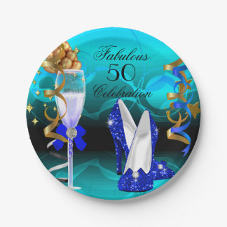 Fiesta de cumpleaños fabulosa del oro del trullo plato de papel de 7 pulgadas