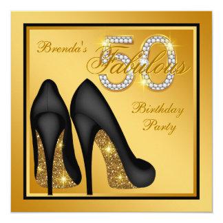 """Fiesta de cumpleaños fabulosa del oro elegante invitación 5.25"""" x 5.25"""""""