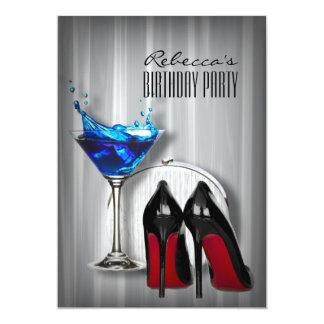 """fiesta de cumpleaños femenina de martini del único invitación 5"""" x 7"""""""