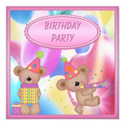 Fiesta de cumpleaños femenina linda de los osos de invitacion personal