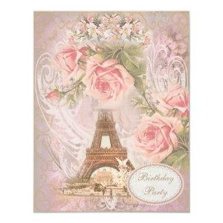 """Fiesta de cumpleaños floral de la torre Eiffel Invitación 4.25"""" X 5.5"""""""