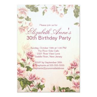 """Fiesta de cumpleaños floral de las flores rosadas invitación 5"""" x 7"""""""
