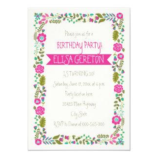 """Fiesta de cumpleaños floral de las mujeres de la invitación 5"""" x 7"""""""