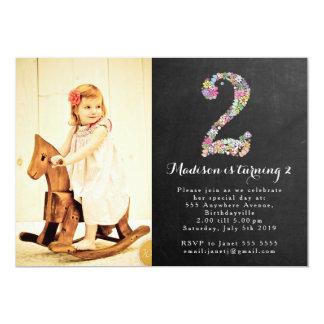 Fiesta de cumpleaños floral de los chicas de la invitación 12,7 x 17,8 cm