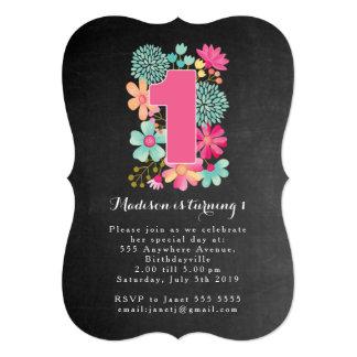 """Fiesta de cumpleaños floral de los chicas de la invitación 5"""" x 7"""""""