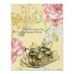 fiesta de cumpleaños floral de té del vintage comunicados personales
