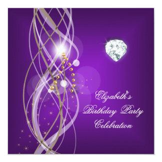 """Fiesta de cumpleaños floral del diamante del oro invitación 5.25"""" x 5.25"""""""