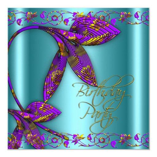 Fiesta de cumpleaños floral del oro púrpura del invitación 13,3 cm x 13,3cm