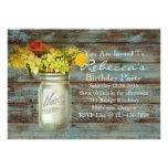 fiesta de cumpleaños floral del vintage del tarro  comunicados personalizados