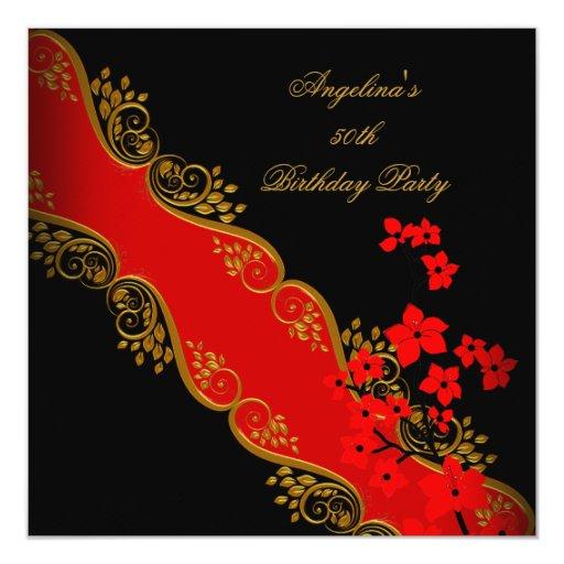 """Fiesta de cumpleaños floral negra asiática roja invitación 5.25"""" x 5.25"""""""