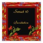 Fiesta de cumpleaños floral negra roja asiática invitación 13,3 cm x 13,3cm