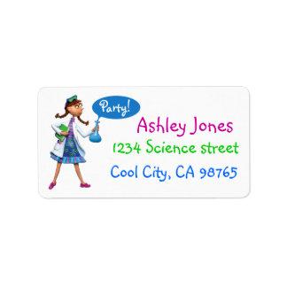 Fiesta de cumpleaños fresca de la ciencia para los etiquetas de dirección