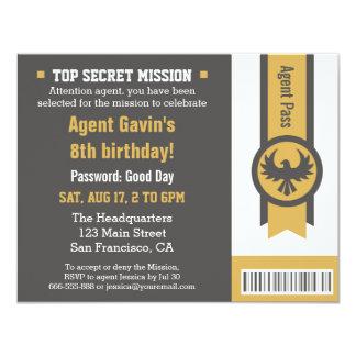 Fiesta de cumpleaños fresca del agente secreto invitación 10,8 x 13,9 cm