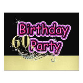 Fiesta de cumpleaños glamorosa de la señal de neón invitación 10,8 x 13,9 cm