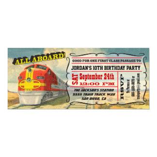 """Fiesta de cumpleaños GRANDE del boleto de tren del Invitación 4"""" X 9.25"""""""