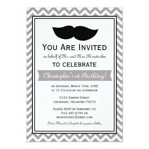 Fiesta de cumpleaños gris de Chevron del bigote Anuncio