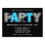 Fiesta de cumpleaños gris y azul del Grunge Invitación Personalizada