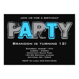 """Fiesta de cumpleaños gris y azul del Grunge Invitación 5"""" X 7"""""""