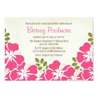 Fiesta de cumpleaños hawaiana del hibisco fucsia invitación 12,7 x 17,8 cm