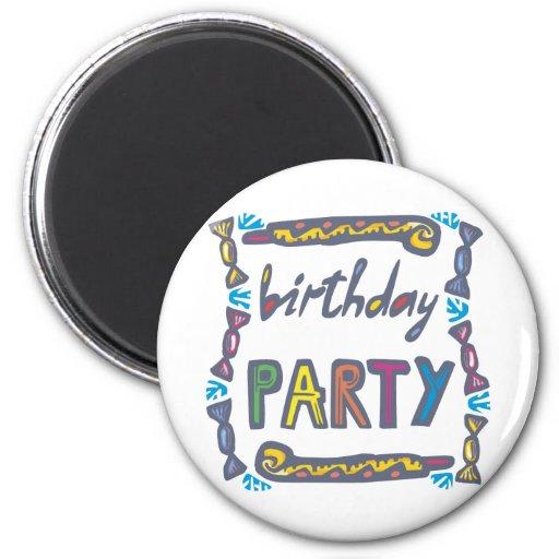 Fiesta de cumpleaños imán redondo 5 cm