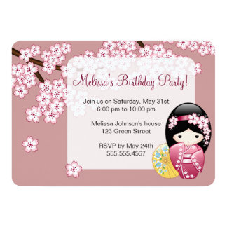 """Fiesta de cumpleaños japonesa de la muñeca de invitación 5"""" x 7"""""""