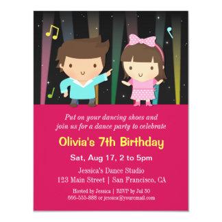 """Fiesta de cumpleaños linda de la danza de las invitación 4.25"""" x 5.5"""""""
