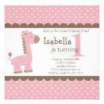 Fiesta de cumpleaños linda de la jirafa del rosa d invitaciones personalizada