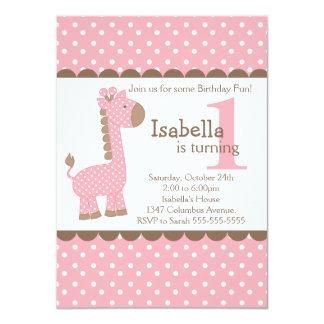 Fiesta de cumpleaños linda de la jirafa del rosa anuncio personalizado