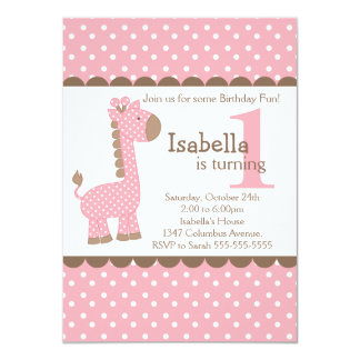 """Fiesta de cumpleaños linda de la jirafa del rosa invitación 4.5"""" x 6.25"""""""