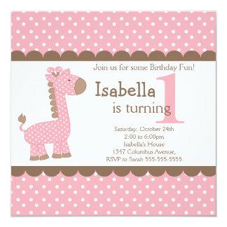 """Fiesta de cumpleaños linda de la jirafa del rosa invitación 5.25"""" x 5.25"""""""