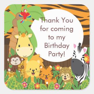 Fiesta de cumpleaños linda de la selva del safari calcomanias cuadradas
