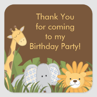 Fiesta de cumpleaños linda de la selva del safari calcomania cuadrada personalizada