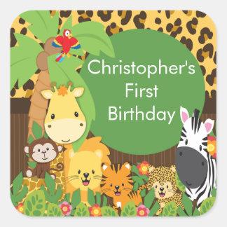 Fiesta de cumpleaños linda de la selva del safari pegatina cuadradas