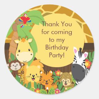 Fiesta de cumpleaños linda de la selva del safari etiqueta redonda