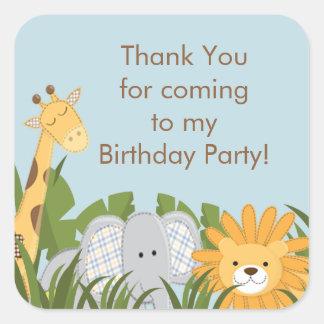 Fiesta de cumpleaños linda de la selva del safari colcomania cuadrada