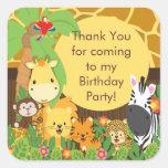 Fiesta de cumpleaños linda de la selva del safari calcomanía cuadradas personalizada