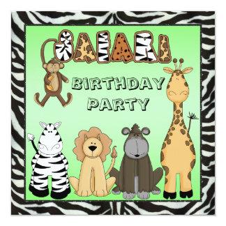 Fiesta de cumpleaños linda de los animales del comunicado personalizado