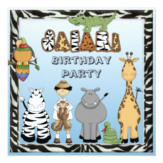 Fiesta de cumpleaños linda de los animales del invitación 13,3 cm x 13,3cm