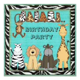 Fiesta de cumpleaños linda de los animales del comunicados personales