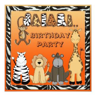 Fiesta de cumpleaños linda de los animales del invitacion personal