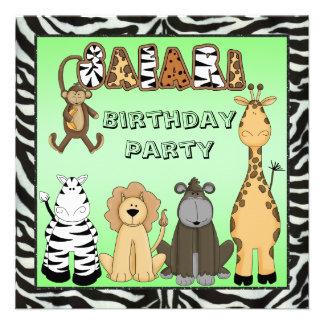 Fiesta de cumpleaños linda de los animales del saf comunicado personalizado