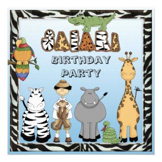 Fiesta de cumpleaños linda de los animales del saf anuncio personalizado