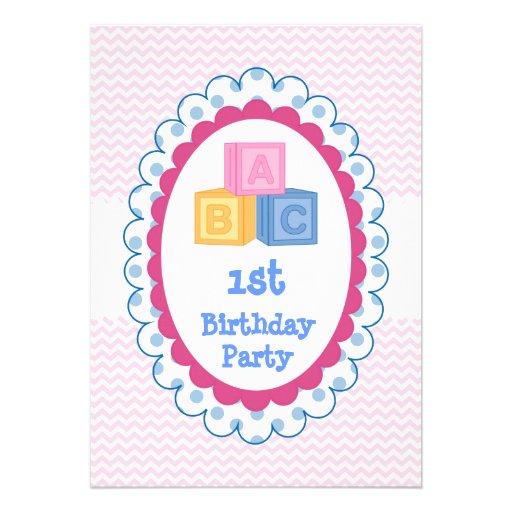 Fiesta de cumpleaños linda de los bloques de ABC d Anuncio Personalizado