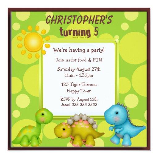 """Fiesta de cumpleaños linda de los dinosaurios invitación 5.25"""" x 5.25"""""""