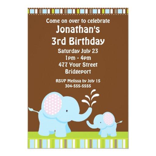 Fiesta de cumpleaños linda de los elefantes invitación 12,7 x 17,8 cm